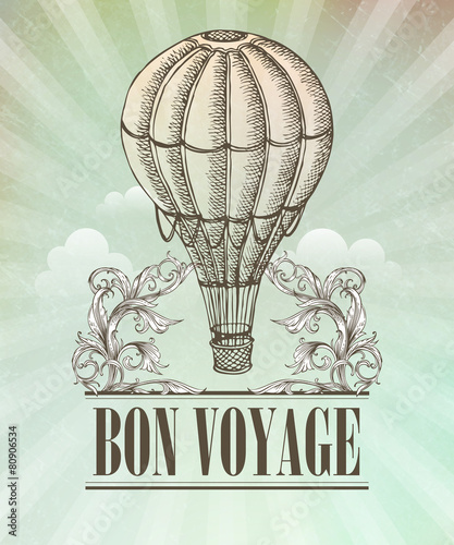 Aeronautic adventure. Vector vintage illustration with balloon © vik_y