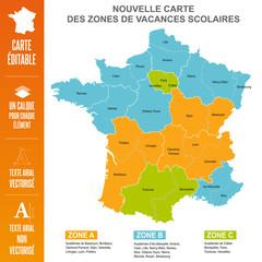 Nouvelle Carte des Zones de Vacances Scolaires