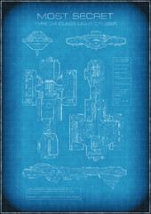 Sci-fi illustration of Top Secret Spaceship Blueprint with Text