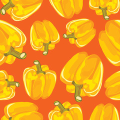 Yellow bell pepper vector seamless background.