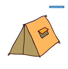 camping tent  hand drawn vector illustration.