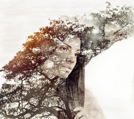 double exposure magic portrait of sensual beautiful woman and tr