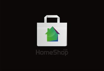Bag home shop logo vector icon