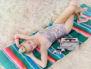 sensual hot body young woman with colorful details relax on the