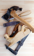 Carpenter Tools Planes, G-clamp and Chisels