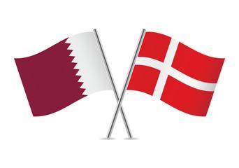 Danish and Qatar flags. Vector illustration.