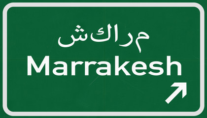Marrakesh Morocco Highway Road Sign