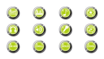 Icons für Musiker als leuchtende Buttons