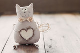Fototapety cat soft fabric handmade heart to insert text