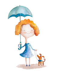Girl with dog and umbrella. Watercolor illustration