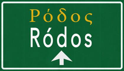 Rodos Greece Highway Road Sign