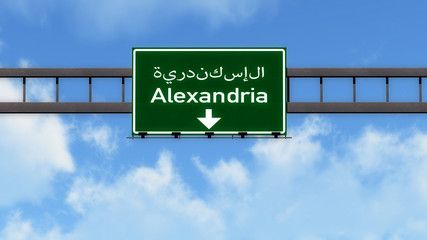Alexandria Egypt Africa Highway Road Sign