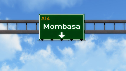Mombasa Kenya Africa Highway Road Sign