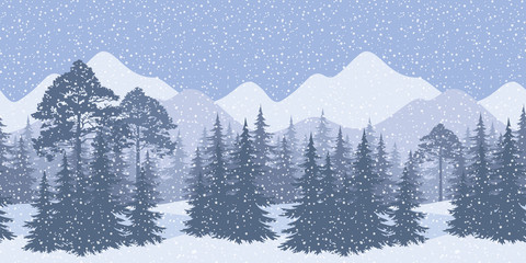 Seamless winter landscape with fir trees