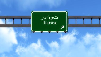 Tunis Tunisia Africa Highway Road Sign