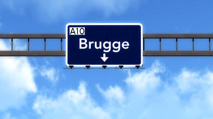 Brugge Belgium Highway Road Sign