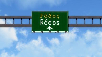 Rhodes Greece Highway Road Sign