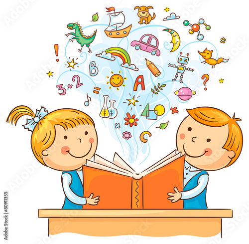 Children Reading a Book Together - 80911355