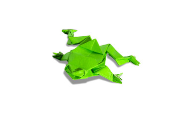 Green origami frog isolated on white