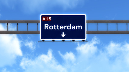 Rotterdam Netherlands Highway Road Sign