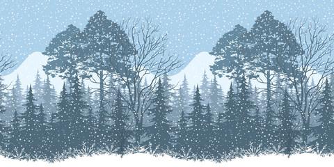 Seamless Winter Woodland Landscape