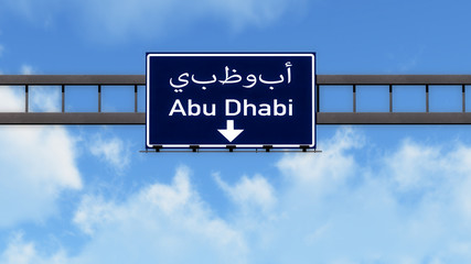 Abu Dhabi UAE Highway Road Sign