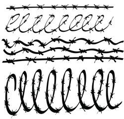 cartoon set barbed wire