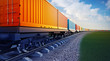wagon of freight train with containers - 80911947