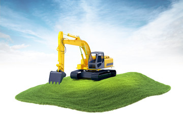 island with heavy excavator machine floating in the air on sky b
