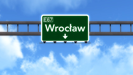 Wroclaw Poland Highway Road Sign