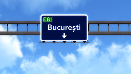 Bucharest Romania Highway Road Sign