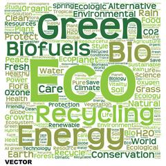 Vector conceptual green eco or ecology word cloud