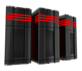 Powerful computer servers isolated on white