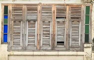 Ruined wooden window