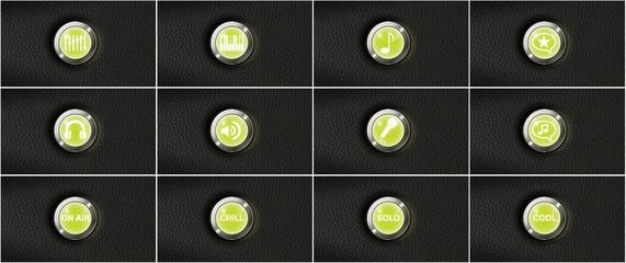 Musiker Icons leuchtende Buttons auf schwarzem Kunstleder
