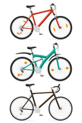 set icons sports bikes with the rear shock absorber vector illus