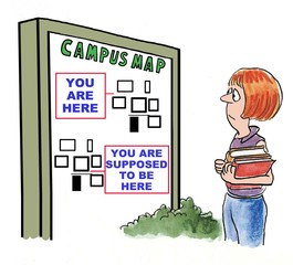 Cartoon of college student looking at campus map.