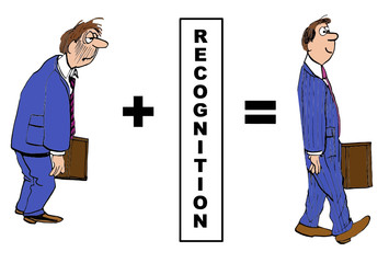 Cartoon of businessman and impact of recognition.