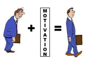 Cartoon of businessman evolution with motivation.