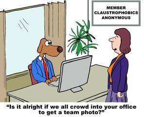 Cartoon of claustrophobic business dog.