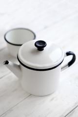 Beautiful retro home enamelware: mugs  and coffee pots