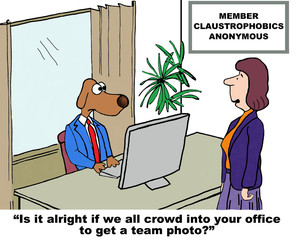 Cartoon of claustrophobic business dog.
