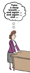 Cartoon of angry businesswoman.