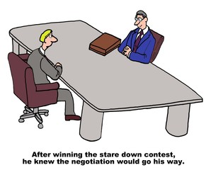 Cartoon of business negotiations.