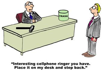 Cartoon of business boss who dislikes cell phone ringer