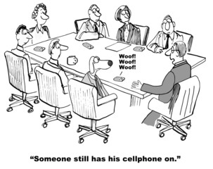 Cartoon of business meeting interrupted by cell phone ringer
