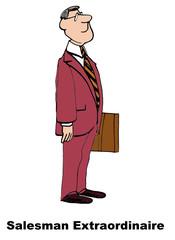 Cartoon of business salesman extraordinaire.