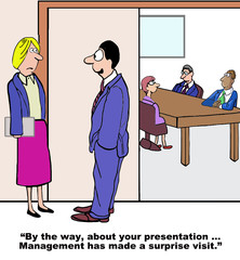 Cartoon of businesswoman, unexpected visit by management.