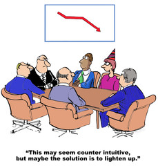 Cartoon of business declining sales, solution is to lighten up.
