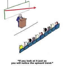 Cartoon of businessman sharing negative sales results.